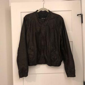 Madewell dark brown leather bomber jacket EUC